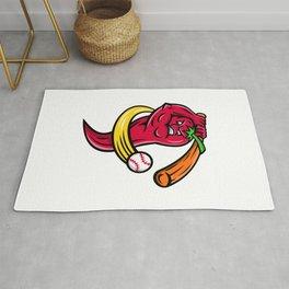 Red Chili Pepper Baseball Mascot Rug