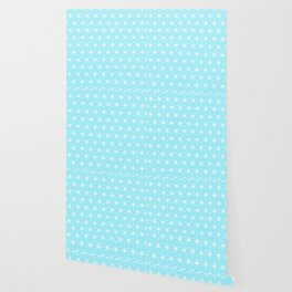 Ice Blue Geometric Flowers and Florals Isosceles Triangle Wallpaper