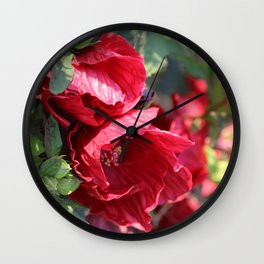 Glorious Giant Red Hibiscus Wall Clock
