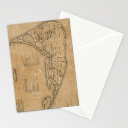 Vintage Map of Nantucket (1869)  Stationery Cards