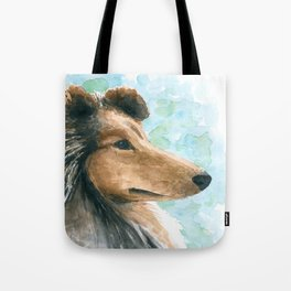 Rough Collie dog Tote Bag