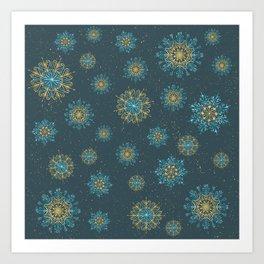 Festive Snowflakes Teal Art Print