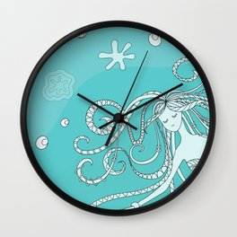 mermaid in blue water Wall Clock