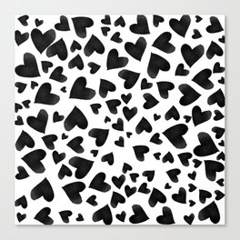 Modern black watercolor love hearts simple pattern Canvas Print