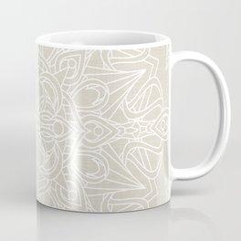 White Lace Mandala on Antique Ivory Linen Background Coffee Mug