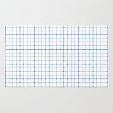 Dotted Grid Weave Blues Rug