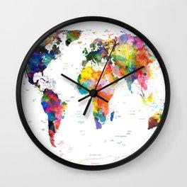 world map political watercolor 2 Wall Clock