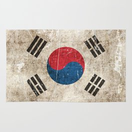 Vintage Aged and Scratched South Korean Flag Rug
