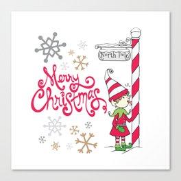 Merry Christmas Elf Canvas Print