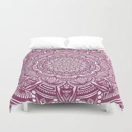 Wine Maroon Ethnic Detailed Textured Mandala Duvet Cover