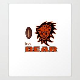 True Bear American Football Design black lettering Art Print