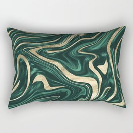 Emerald Green Black Gold Marble #1 #decor #art #society6 Rectangular Pillow