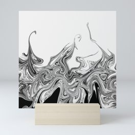 Modern contemporary Black and White Abstract Mini Art Print