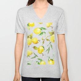 Watercolor lemons 8 Unisex V-Neck