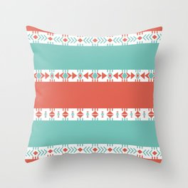 South Western Print in Modern Aqua Turquoise and Coral Geometric Diamonds Arrows Triangles Circles Throw Pillow