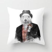 phil jones Throw Pillows featuring Mr. Phil by Robert Farkas
