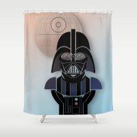 starwars Shower Curtains featuring StarWars Darth Vader by Joshua A. Biron