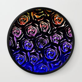 rose pattern texture abstract background in blue and red Wall Clock