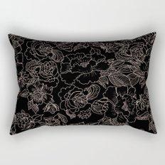 Pink coral tan black floral illustration pattern Rectangular Pillow