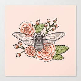 Cicada with Roses - Pink Canvas Print