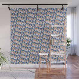 'Pray' Trendy Rainbow Text Pattern (Blue) Wall Mural