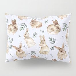 Bunnies and Leaves (Blue) Pillow Sham