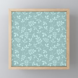 Assorted Leaf Silhouette Pattern Teals Framed Mini Art Print