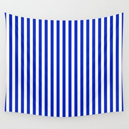 Cobalt Blue and White Vertical Deck Chair Stripe Wall Tapestry
