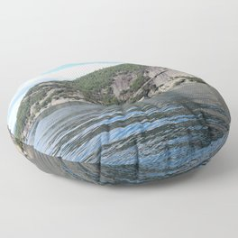 Summer's End: Roger's Rock on Lake George Floor Pillow