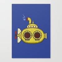 yellow submarine Canvas Prints featuring Yellow submarine by Posterity