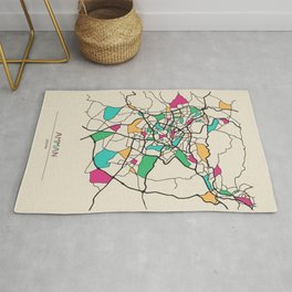 Colorful City Maps: Amman,Jordan Rug