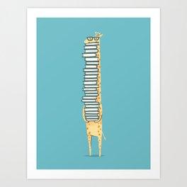 A Book Lover (blue) Art Print