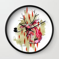 jackalope Wall Clocks featuring Jackalope by Manfish Inc.