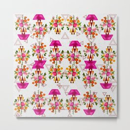 Watercolor Floral & Triangle Pattern Home Goods Design Metal Print