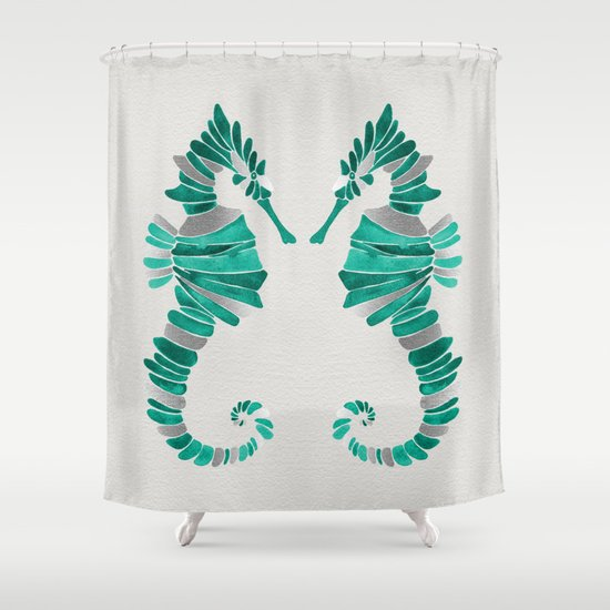 Seahorse Silver Amp Turquoise Shower Curtain By Cat