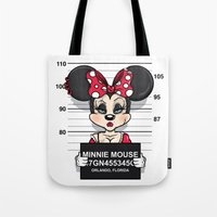 minnie mouse Tote Bags featuring Bad Guys / Minnie Mouse by mebz art