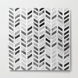 Black and White Chevron Herringbone Pattern Metal Print