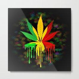 Marijuana Leaf Rasta Colors Dripping Paint Metal Print