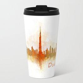 Dubai, emirates, City Cityscape Skyline watercolor art v3 Travel Mug