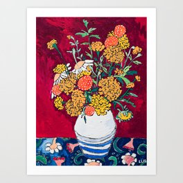 Marigold, Daisy and Wildflower Bouquet Fall Floral Still Life Painting on Eggplant Purple Art Print