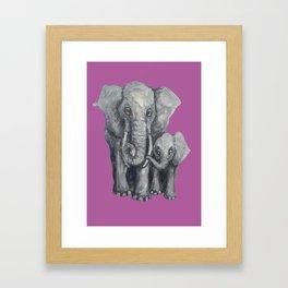 Elephant Parent and Calf (violet) Framed Art Print