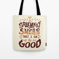 risa rodil Tote Bags featuring I am up to no good by Risa Rodil