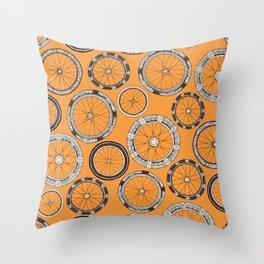 bike wheels amber Throw Pillow