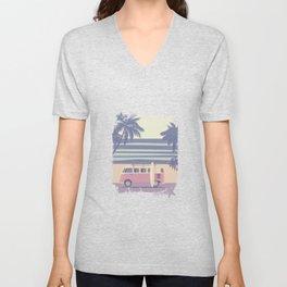 Surfer Graphic Beach Palm-Tree Camper-Van II Unisex V-Neck