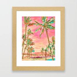 Beach at Mauna Lani Bay, Hawaii Peach Framed Art Print