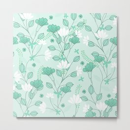 Vintage flowers in a green background Metal Print