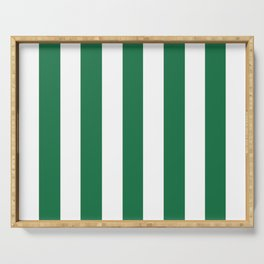 Dark spring green - solid color - white vertical lines pattern Serving Tray