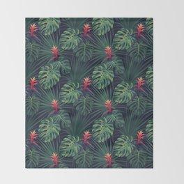 Tropical pattern with Guzmania flowers Throw Blanket