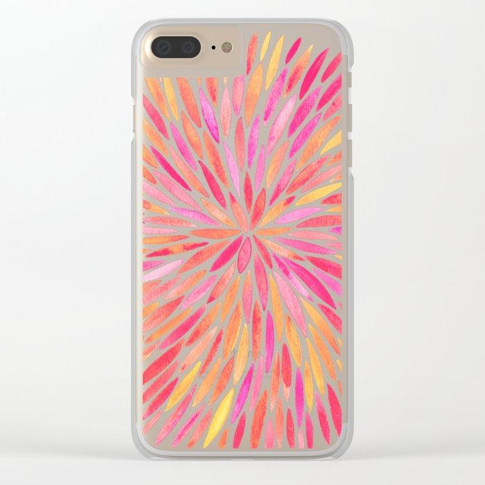 Watercolor Burst – Pink Ombré Clear iPhone Case