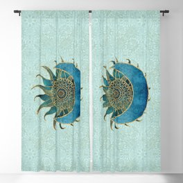 Sun And Moon Universe Celestial Art Gold And Turquoise Blackout Curtain